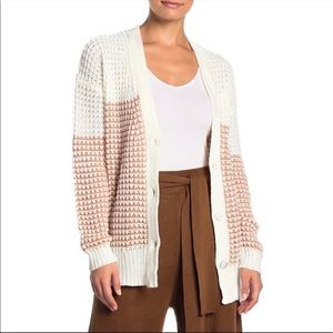 LUSH Colorblock V-neck Knit Cardigan IVORY S/M